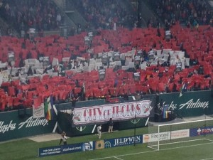 Portland Thorns supporters unveil their pregame tifo.